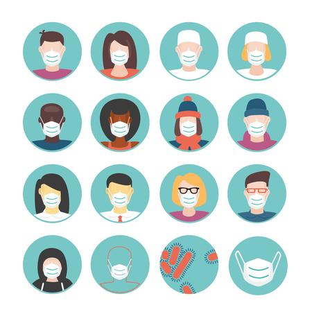 Las mascarillas médicas establecidas. Icono de conjunto con un pueblo que desgastan la máscara médica. ilustración de estilo plano. Aislados en personas de raza blanca de dibujos animados.