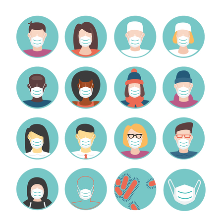 Medical masks set. Icon set with a people wearing medical mask. Flat style illustration. Isolated on white cartoon people.