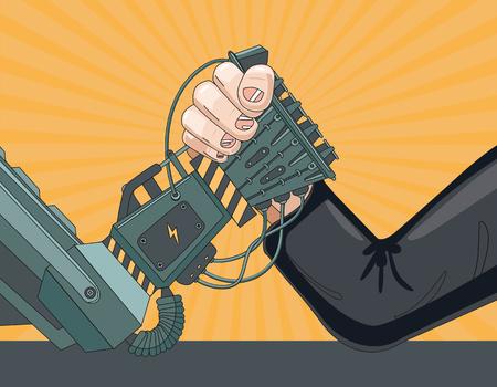 Arm worstelen met een robot. De strijd van de mens versus robot.