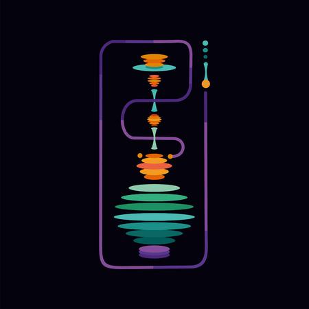 Huka. Isolierte Vektor-Zeichen mit einer Vibration Farbe