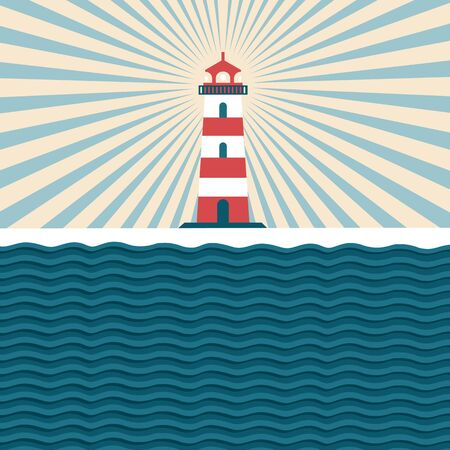 beacon: Lighthouse. Vintage illustration with a beacon