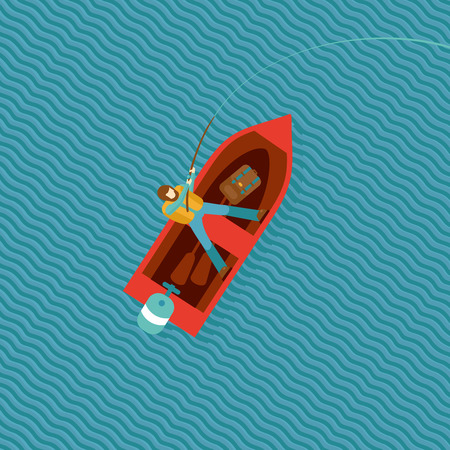 river view: Fisherman is catching a fish in a boat. Top view of a red boat with a fisherman. isolated cartoon illustration. Illustration
