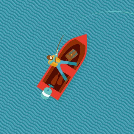 barche: Pescatore sta recuperando un pesce in una barca. Vista dall'alto di una barca rossa con un pescatore. isolato cartoon illustrazione.