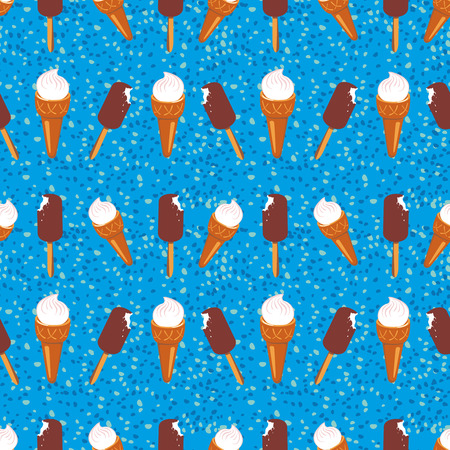 waffle: Ice-cream pattern. Seamless vector pattern with an eskimo and waffle cone. Food background for a wallpaper and wrapping.