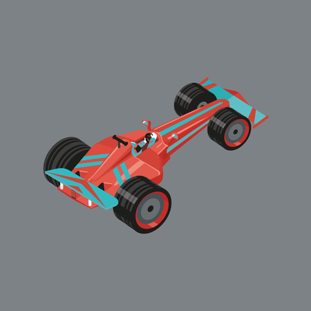 Isometric sports car. Isolated vector cartoon auto for racing. Red sport automobile with a racer inside.