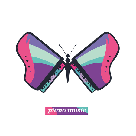 live music: Butterfly with a wings in the shape of a piano. Live music sign.Template for a classical music concert. Illustration