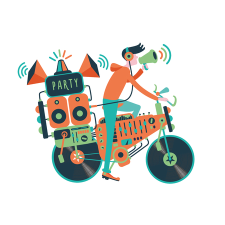 boom box: Party bike. Man on a bike with a professional audio equipment. Dj is holding a megaphone. Cartoon illustration for party posters and invitations. Entertainment sing.
