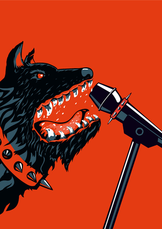 heavy metal: Big angry dog is barking into a microphone. Template for music posters. Heavy metal style. Illustration