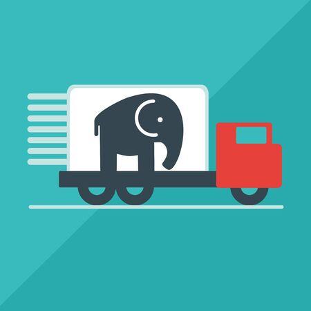 Der LKW liefert den Elefanten. Flaches Artvektorillustrationslieferungs-Service-Konzept. Standard-Bild - 52952896