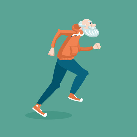 Running grandfather. Cartoon  illustration of a healthy lifestyle. Vettoriali