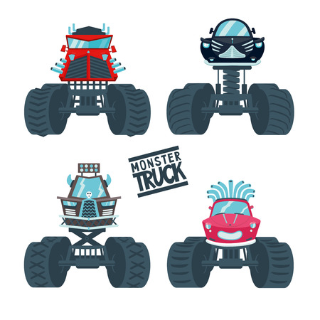 Set of a four cartoon cars. Isolated on white monster cars. Front view.
