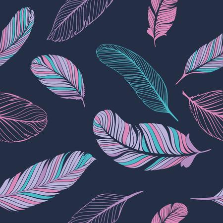 Feathears とシームレスなパターン。装飾のためのベクトル テクスチャです。  イラスト・ベクター素材