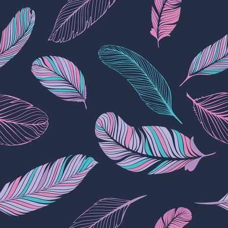 patter: Seamless patter with feathears. Vector texture for decoration.