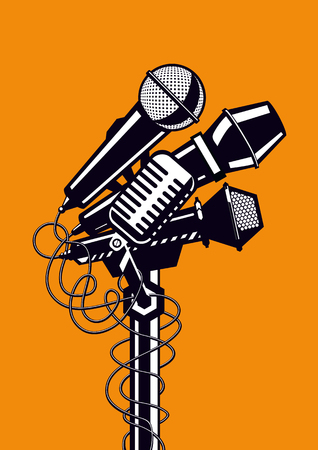 Four concert microphones. Template for music or karaoke posters. Vettoriali