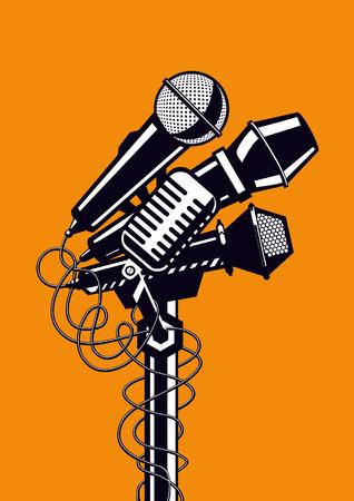 Vier concert microfoons. Template voor muziek of karaoke posters.