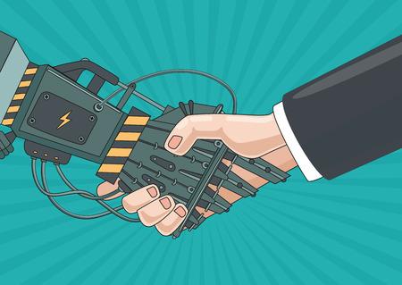 Vintage illustratie met robot en menselijke handen. strippaginastijl