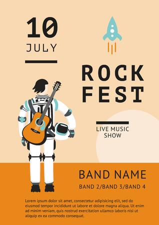 Muziek poster met een astronaut en gitaar. Live muziek achtergrond
