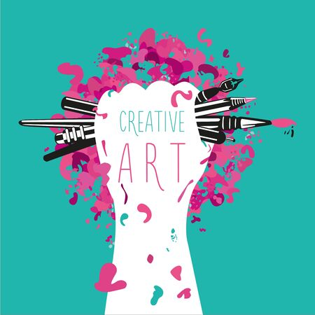creative arts: Creative and art. Hand is holding arts tools. Art illustration. Illustration