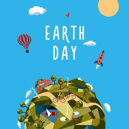 Medio Ambiente y el concepto de la ecología. Ilustración para el día de la tierra.