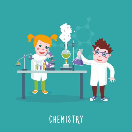子供たちが実験室で化学を勉強です。教育コンセプトです。