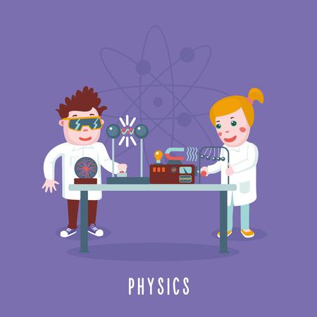 Los niños están studing la física en un laboratorio. Concepto de la educación. Ilustración de vector