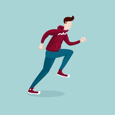 plat: Isolated cartoon illustration of a running man