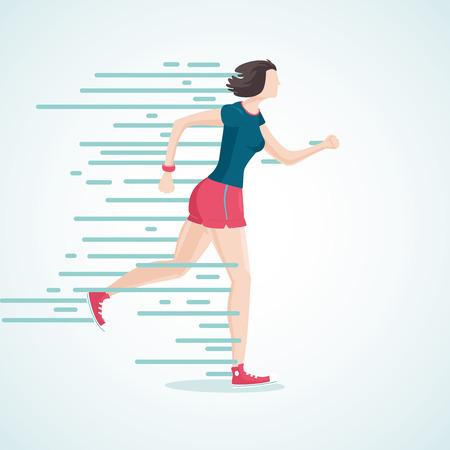 achieve: Isolated cartoon illustration of a running woman Illustration