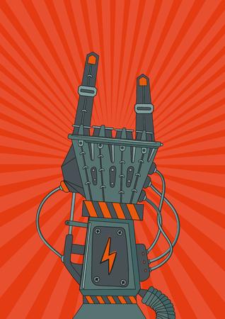 robot arm: Vintage music poster with metallic robot hand. Robot rock.