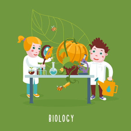 clever: Children in a lab.  Cartoon illustration with experimenting children. Education concept.