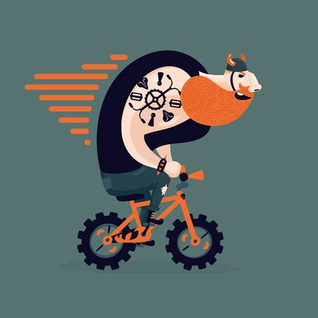 funny bearded man: Humorous illustration with a bearded biker on isolated background. Funny man on a bicycle