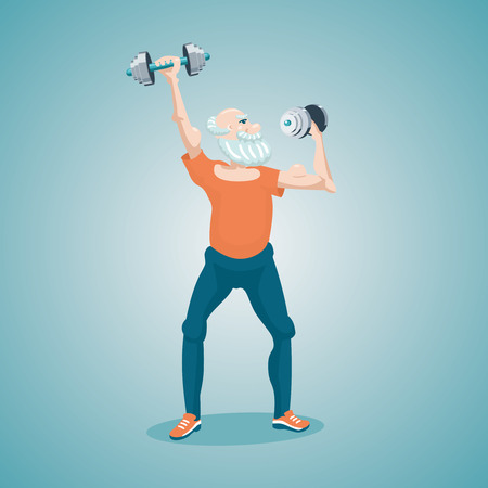 Funny old man with dumbells. Isolated cartoon illustration. Healthy lifestyle.