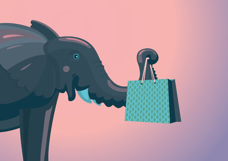 shopping malls: Elephant with a pack from shop. Cartoon illustration.