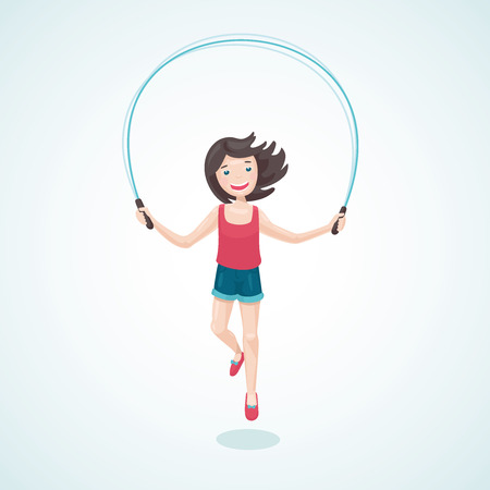 jump rope: Cartoon illustration of girl with a jump rope.
