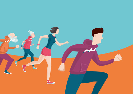 person walking: Running people. Cartoon illustration of a marathon.