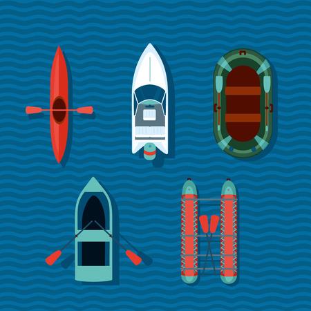 lifeboat: Cartoon boats. Flat style illustartion Illustration