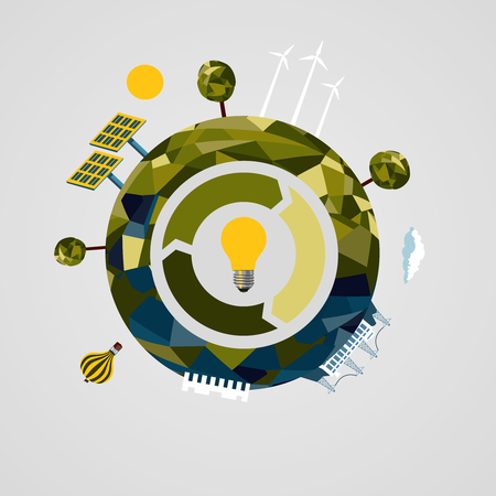 energy sources: Power and energy sources concept. Infographics concept. Illustration