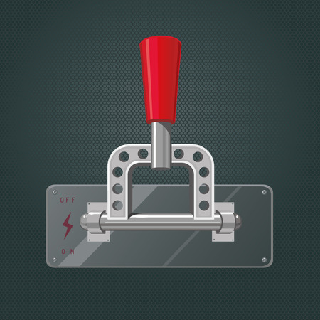 activate: Metallic knife switch with a red handle.
