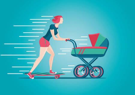 skateboard park: Mother walking with a pram. Active woman concept. Cartoon illustration