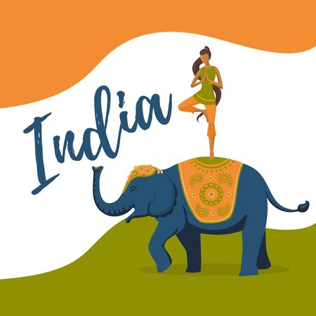 august: Illustration for the India independence day. Girl riding on elephant Illustration