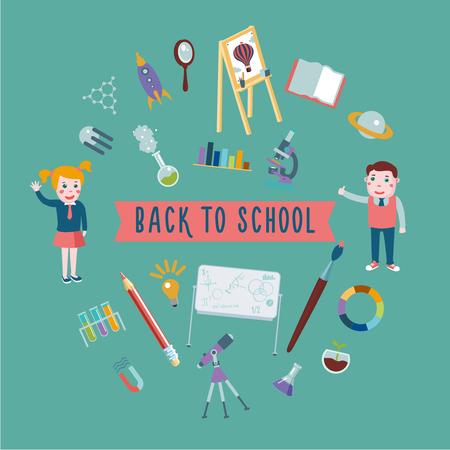 cartoon school girl: Cartoon illustration. Boys an girl with school equipment.