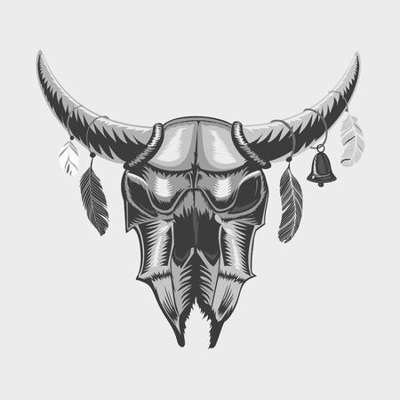 isolated illustartion: Isolated on white bull skull. Ethnic sign. Black and white illustartion, tattoo style.