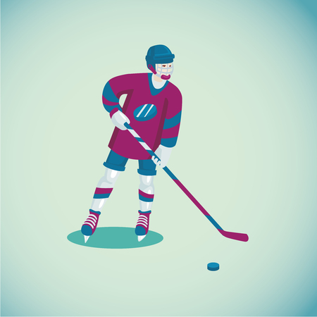 Colored cartoon illustration with a hockey player. Isolated sports character.