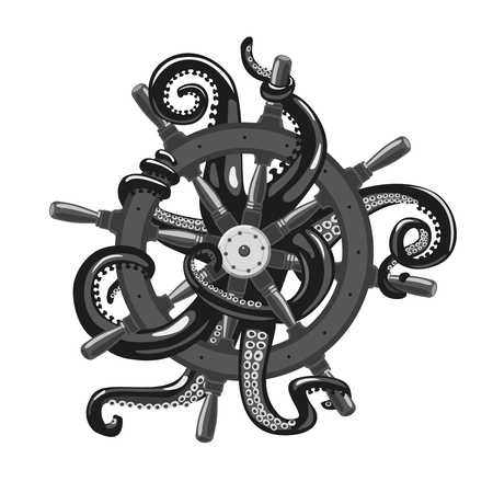 monstrous: Tentacles wrap around the wheel. Isolated vector illustration with an octopus. Tattoo style.