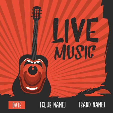sing: Live music poster with a screaming guitar Illustration
