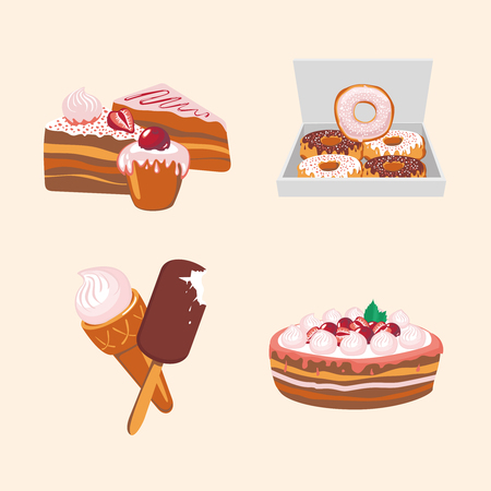 Isolated cartoon illustration with a sweet food. Icons set Illustration
