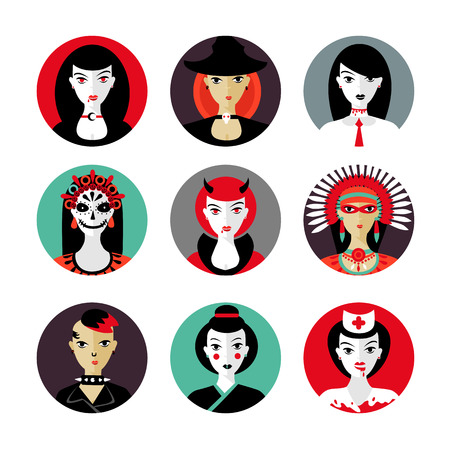 Flat style woman avatar set for halloween celebration. Cartoon characters.