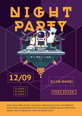 Template for music party posters with an astronaut. Cartoon style