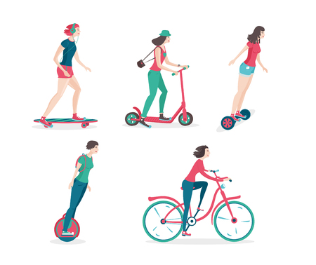 skateboard park: Girls are riding on a presonal city transport. Cratoon icons set.