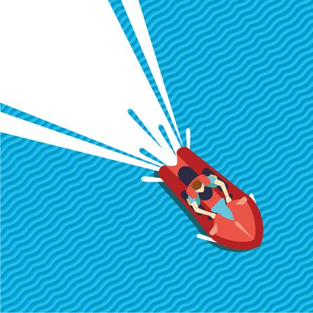 moto acuatica: Man riding water skooter. Flat cartoon style. Jet ski top view.