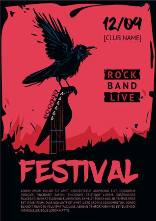 Raaf met gitaar. template poster voor de club, festival, concert en rock party. Grunge stijl.